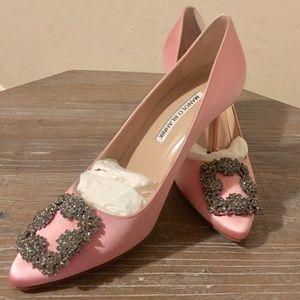 Manolo Blahnik Hangisi Pink Satin 70mm Heels NWT